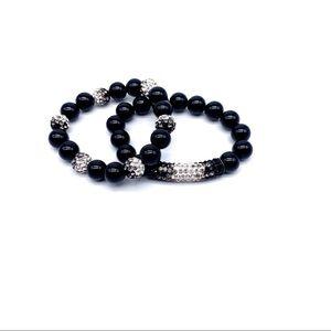 Jewelry - Two black onyx crystal stretch bead bracelets
